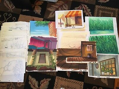 12 Disney? Original Hand-Painted Production Animation Backgrounds + 25 Drawings