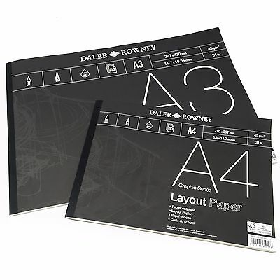 Daler Rowney - Layout Paper Pad - 45gsm - 80 Pages - A3/A4 - Made in England