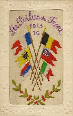 Embroidered Silk The Soldiers At The Front 1914-16 + Allied Flags