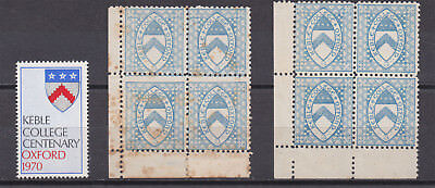 Lot:23575  GB College Cinerella stamps Keble College Oxford 1882 and 1970