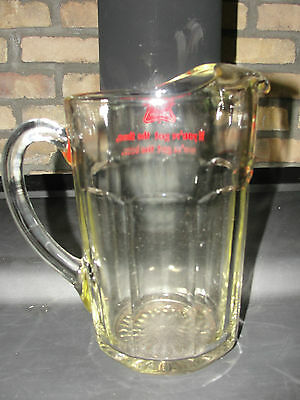 MILLER HIGH LIFE beer pitcher, glass, handled, old, advertising
