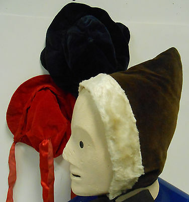 Antique Silk Velvet Baby Bonnet Silk Ribbon Vintage Little Girls Hat Lot of 3 NR