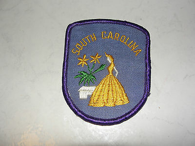 South Carolina,lady In Dress,flowers Old Type Travel Souvenir,collectible Patch