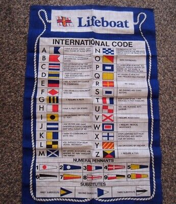 Vintage Rnli Lifeboat International Code Of Signals Souvenir Linen Tea Towel