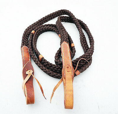 8' Brown Western Barrel Rodeo Nylon Braided Horse Roping Leather Reins Tack