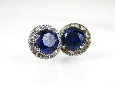 Estate Sterling Silver Lab Blue Sapphire & White Sapphire Ladies Earrings 2.3g