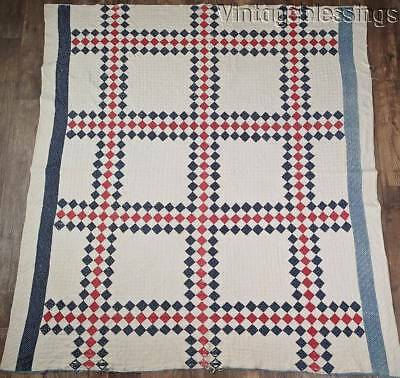 Patriotic Americana! Antique c1880 Blue & Red Squares Cutter or Stacker QUILT