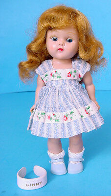 1950s VOGUE GOLDEN BLONDE GINNY PAINTED LASH STRUNG DOLL in BLUE COTTON PRINT