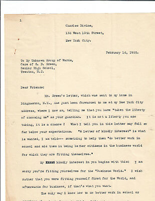 Poet,playwright Charles Divine Typed Letter Signed