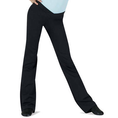 NWT Bloch Dance Jazz  V Front Boot Cut Black Pants Med Child 8/10 CP6918