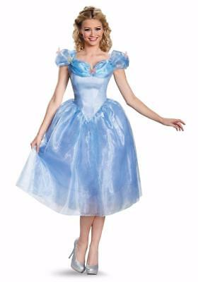 Disguise Women's Cinderella Movie Adult Deluxe Costume Dress Blue M (8-10) NEW!