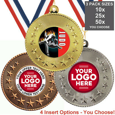 JUDO METAL MEDALS 50mm, PACK OF 10, RIBBONS, INSERTS or OWN LOGO & TEXT