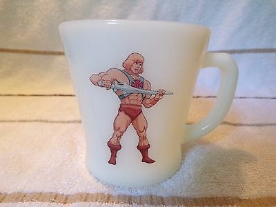 Fire King Glass Masters Of The Universe He-Man  D Handle  Coffee Cup Mug Lqqk