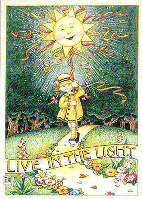 LIVE IN THE LIGHT Sun-Handcrafted Fridge Magnet-Using art by Mary Engelbreit