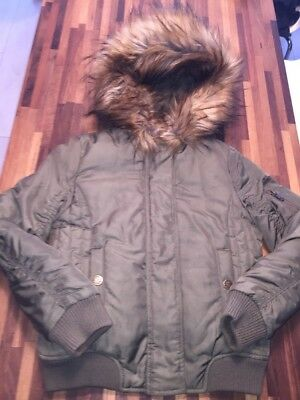 NEXT Khaki Green Fur Trim Hooded Bomber Style Jacket Coat Age 8 EXCELLENT COND