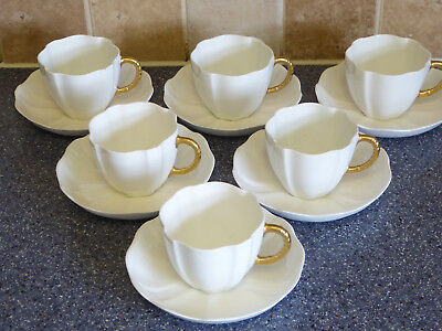 Royal Crown Derby Tea Cups , Saucers X6 White Gold Handle Surrey Shape , Dinner
