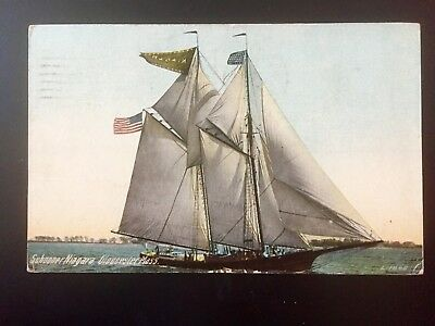 MA Massachusetts Gloucester Ship Schooner Niagara color postcard cancel 1914