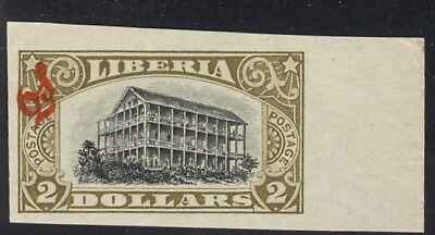 Liberia 1918 $2 Presidential Mansion official, IMPERFORATE #O109