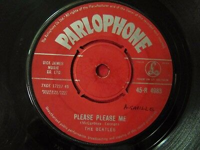 "Beatles Please Please Me 7"" Record Original Red Parlophone Vg+ Correct Bag R4983"