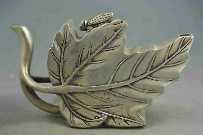 Chinese Collectable Handwork Old Miao Silver Carve Swan Shape Leaf Noble Tea Pot