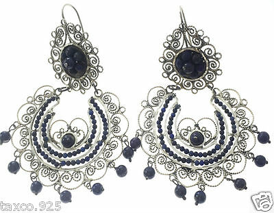 Taxco Mexican Sterling Silver Beaded Bead Lapis Filigree Earrings Mexico