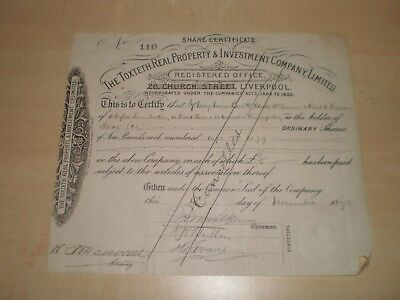 1898 The Toxteth Real Property&Investment Company Liverpool Share Certificate