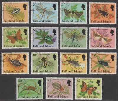Falkland Islands 1984 QEII Insects and Spiders Set Used SG469A-483A cat £18