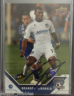 San Jose Earthquakes Brandon McDonald Autographed 2011 Upper Deck UD MLS Card