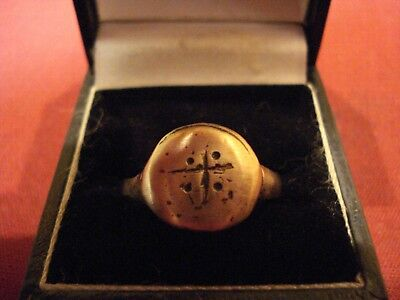 Medieval Bronze Crusaders Ring With 'cross'--Detector Find
