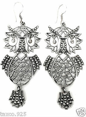 Taxco Mexican Sterling Silver Owl Earrings Mexico