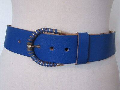 Vintage 1980's Cobalt Blue Leather Cinch Belt Gold Tone And Leather Buckle 12-14