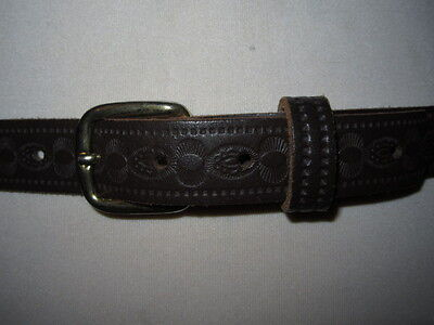 Vintage 1990's Unisex Slim Brown Tooled Leather Western Belt Brass Effect Buckle