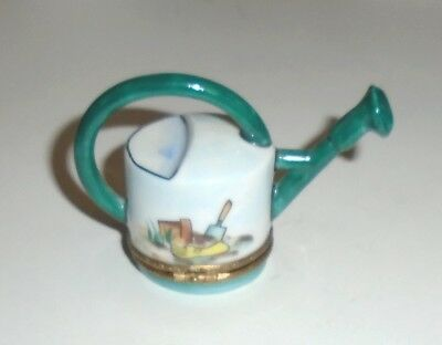 Hand Painted Limoges Figural Watering Can Porcelain Trinket Box Signed Rochard