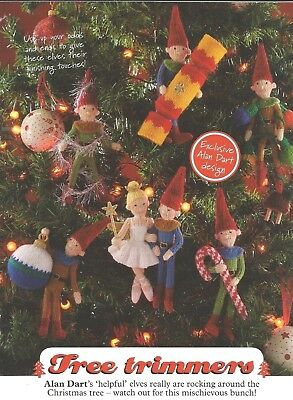 Alan Darts Mischievious Elves Tree Trimmers, Toys, Christmas Knitting Pattern Dk