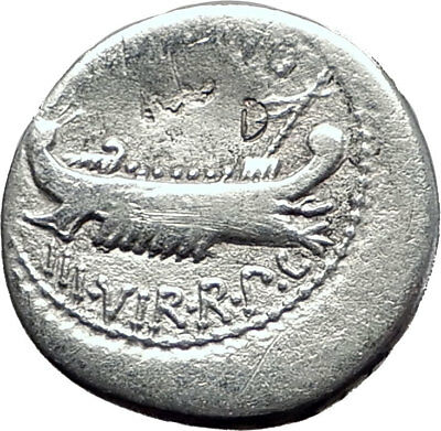 MARK ANTONY Cleopatra Lover 32BC Ancient Silver Roman Coin LEGION X i64865