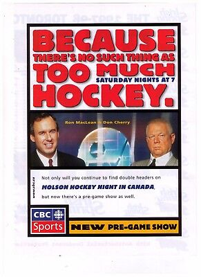 1997 CBC Hockey Night In Canada Don Cherry/Ron Maclean Print Advertisement
