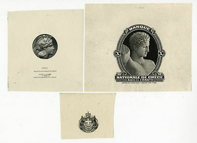 Greece Proof Vignette Lot Used on ABNC Printed 1920-30s Banknotes XF-Unc (3 pcs)