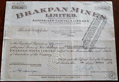 31435 SOUTH AFRICA 1950 Brakpan Mines 50 shares certificate