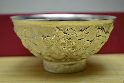 127 gram Purity S999 Fine Solid Silver Hand Made Flower Butterfly Bowl Hallmark