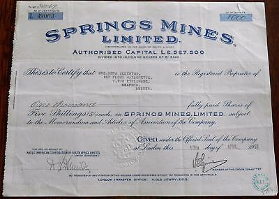 31436 SOUTH AFRICA 1955 Springs Mines 1000 shares certificate
