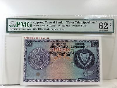 Cyprus, Central Bank 1964-79 500 Mils P-42cts PMG Unc 62 Color Trial BWC