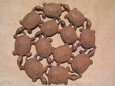 Dancing Turtles Garden Plaque & Stepping Stone ~ rust cast iron ~ turtle decor