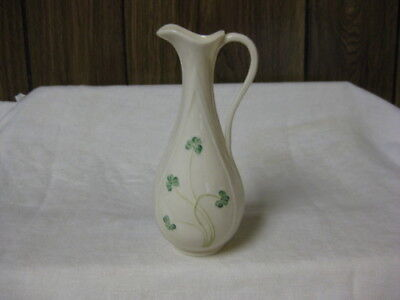 Belleek Shamrock Typhia Spill Vase Green Shamrocks Handle & Spout 7""