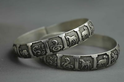 Collectable Handwork Miao Silver Carving Chinese Zodiac Lucky One Pair Bracelet