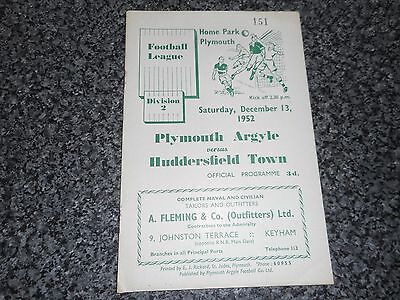 PLYMOUTH ARGYLE  v  HUDDERSFIELD TOWN   1952/3  ~ DECEMBER 13th   **FREE POST**