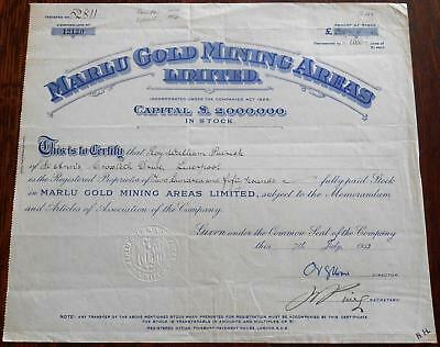 31446 GOLD COAST 1953 Marlu Gold Mining Areas Stock certificate. Capital £2M