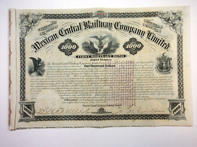 Mexican Central Railway Co., Ltd., 1881 Issued Bond