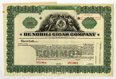 De Nobili Cigar Co., ca.1910-20's Specimen Stock Certificate New York ABNC VF-XF