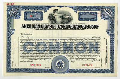 American Cigarette and Cigar Co., ca.1940-1950 Specimen Stock Cert NJ VF-XF ABNC