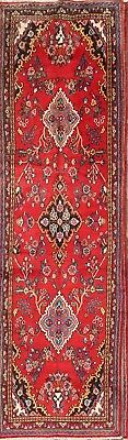 """Hand Knotted Floral Red Runner 3x12 Hamadan Persian Oriental Rug 11' 9"""" x 3' 4"""""""